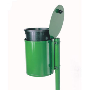 grüner Abfallkorb Zylinder