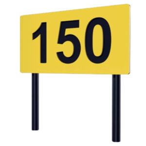gelb-schwarze horizontale Distanzangabe aus Kunststoff - SI16100