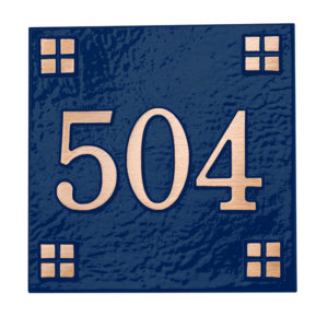 blaue Distanzmarkierung Centennial quadratisch, Bronze-Guss - 300120BZ