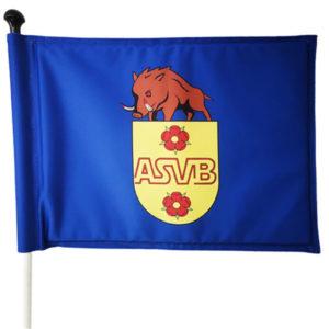 blaue, stehende Fahne mit Vereinslogo - SI7350G