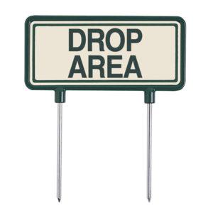 """beige-grünes Fairway Schild aus Aluminium """"DROP AREA"""" - 09152"""