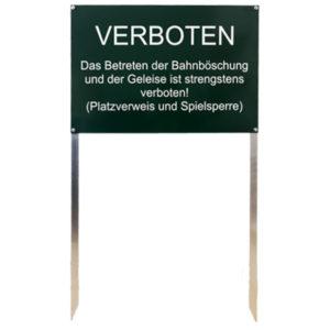grünes Hinweisschild aus Aluminium mit zwei Spikes und Wunschtext