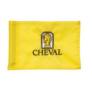 gelbe Putting Fahne mit Clublogo bestickt